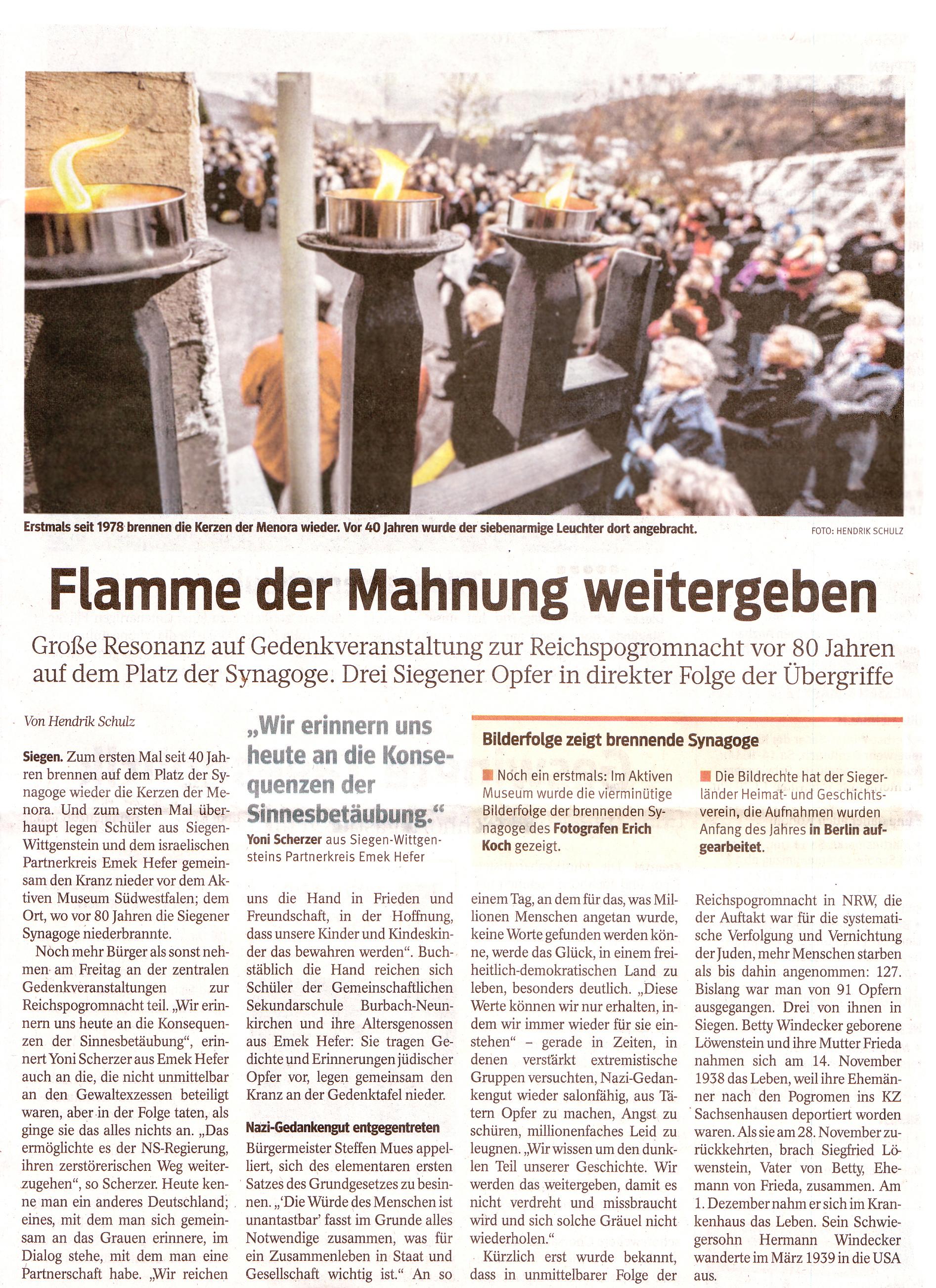 Westfälische Rundschau 10.11.2018 - Zum Vergrößern bitte anklicken.