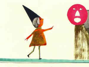 Collage mit geschnittenen und gezeichneten Elementen. Links ein kleines Geschöpf mit spitzem Hut, rechts oben ein pinkes, rundes, staunendes Gesicht mit goldenem Körper