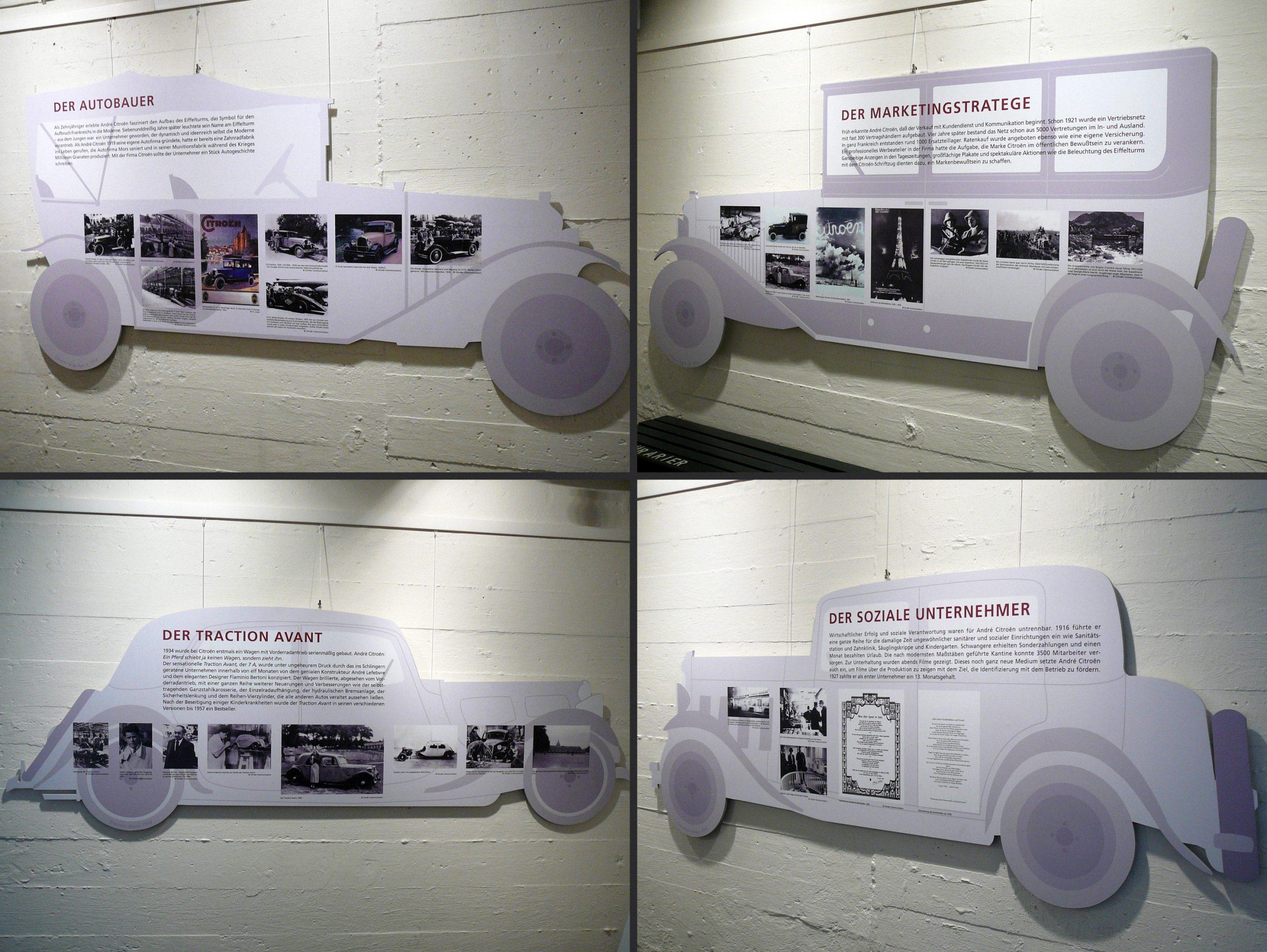 """Collage von Ausstellungstafeln der Ausstellung """"André Citroën"""", die Tafeln sind in der Form alter Automobile gestaltet"""