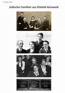 Titel und drei alte schwarz-weiß Fotografien von Familien, sowie eine Fotografie von drei Stolpersteinen