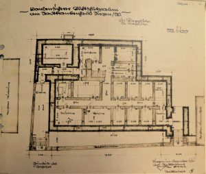 Architektonische Zeichnung des Hochbunkers am Obergraben in Siegen